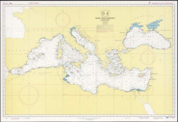 Carta nautica del Mar Mediterraneo e del Mar Nero