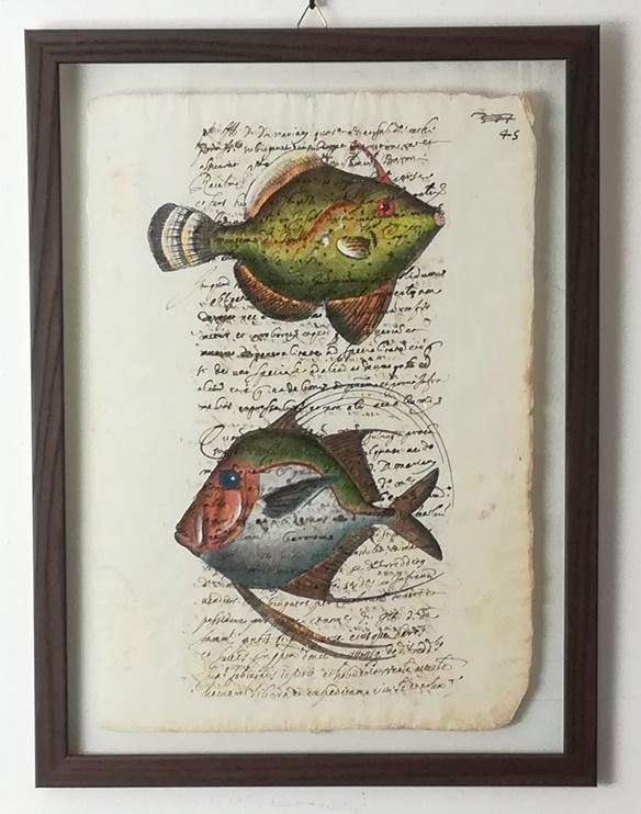 """quadro """"pesci su carta antica le chinois e le coq"""""""