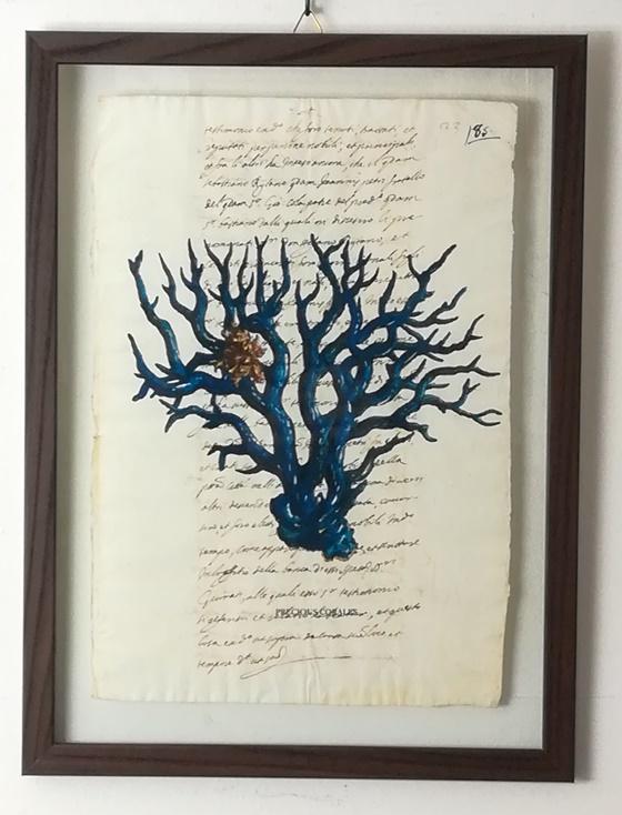 """quadro """"pecious corales blu su carta antica"""""""